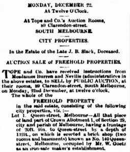 Goetz-Notice-of-Auction-of-140-Quenns-St,-Melbourne,-The-Argus-15-Dec-1884-p2
